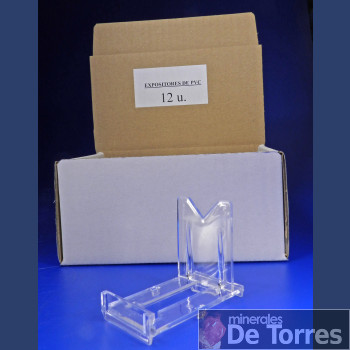 Expositor ajustable de plástico PVC. 12 unidades.